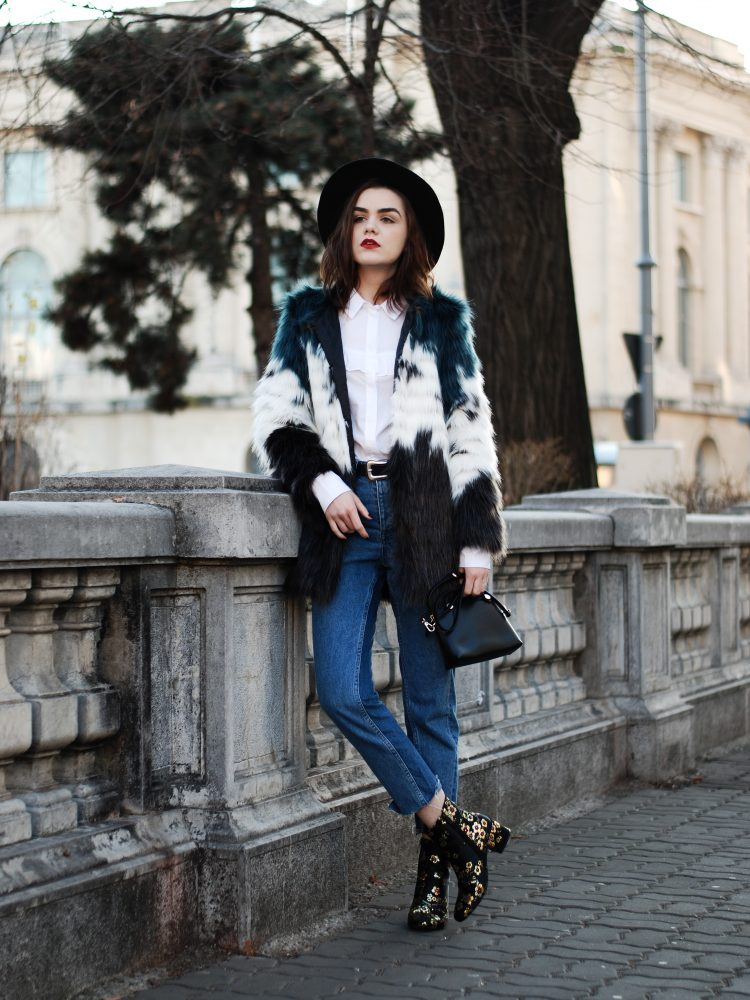 HM step hem jeans, mango, ruffle white button down shirt, multicolor faux fur coat, leather belt, color block faux fur coat, fur jacket, flower embroidered ankle boots, embroidered ankle boots, studded black fedora hat, furla piper s leather crossbody bag, zara outfit, fall outfit, cute winter outfit, andreea birsan, couturezilla, casual winter outfit ideas, chic on a budget, tumblr girl outfit, pinterest outfit for women, how to stay chic during winter, what to wear when it's cold, how to style a faux fur jacket, how to wear embroidered ankle boots, how to mix prints