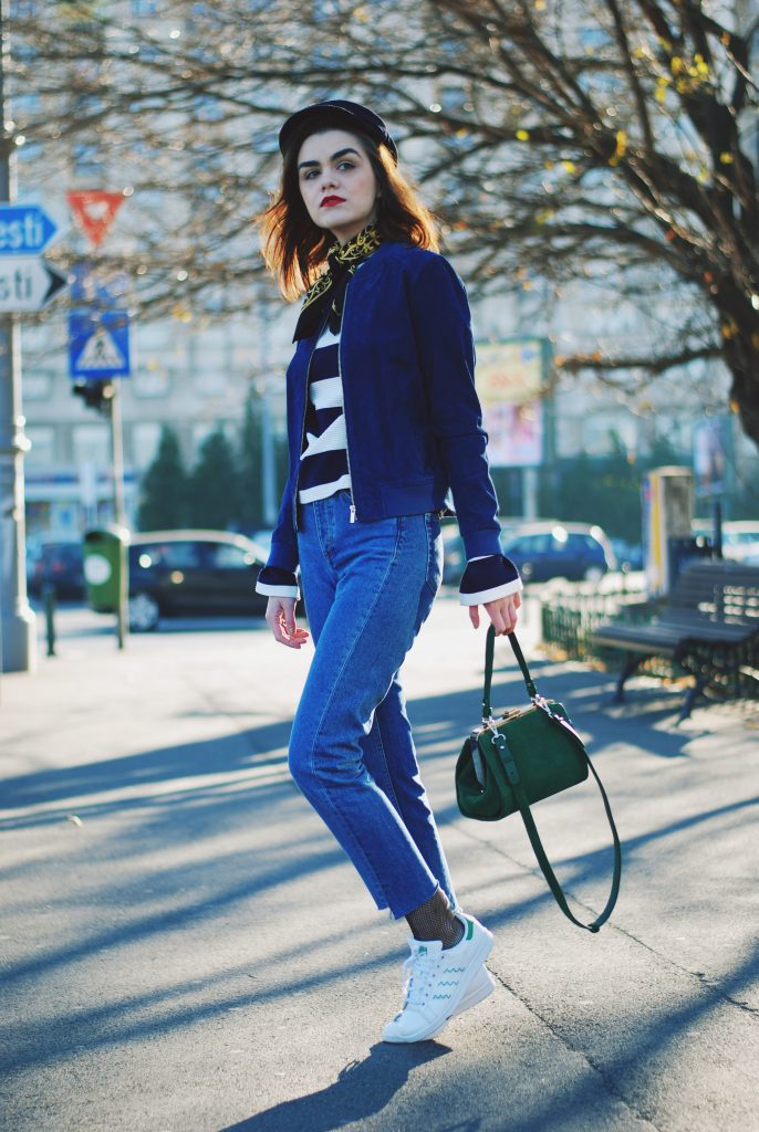 Striped top, vintage french knotted scarf, step hem jeans, blue real suede bomber jacket, fishnet tights, adidas stan smith white sneakers, zara green suede crossbody bag, newsboy cap, chic on a budget, cute fall outfit ideas , casual winter outfit ideas 2016, couturezilla, andreea birsan