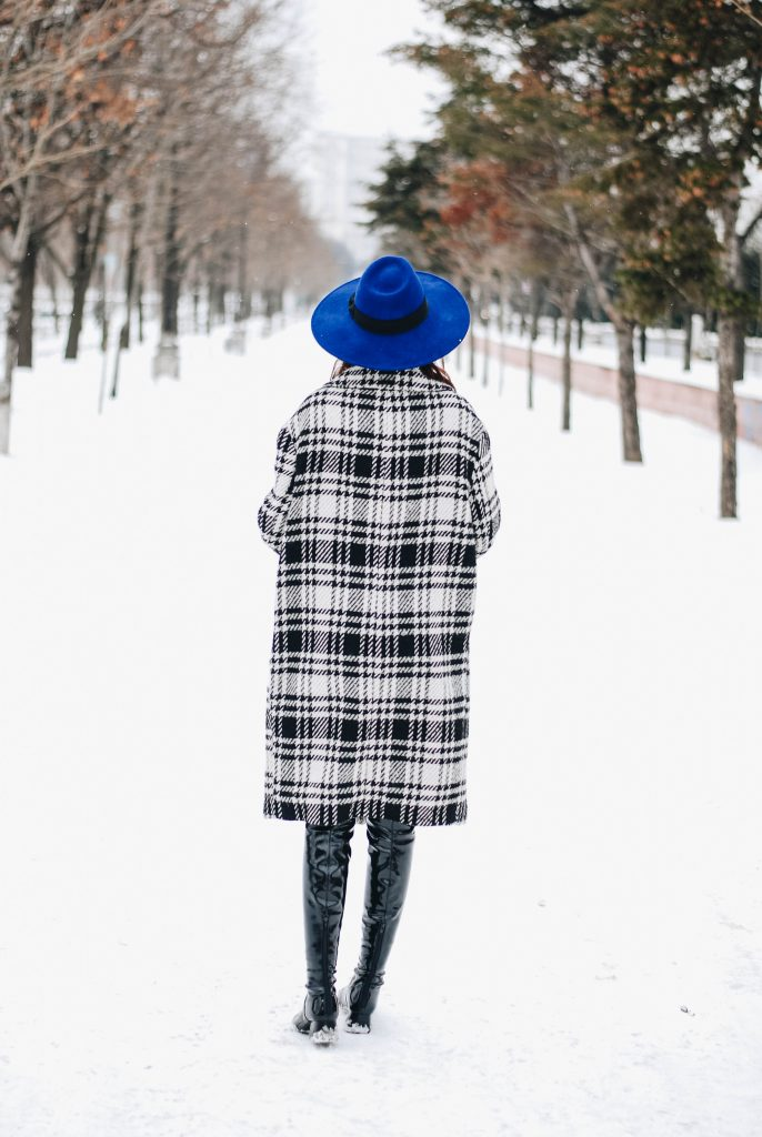 Valentine's Day outfit inspiration, Zara check coat, mango cobalt blue fedora hat, double denim outfit, how to wear double denim, NYFW, NY fashion week, New York fashion week outfit 2017, what to wear, C&A denim button down shirt, midi denim button front skirt, patent over the knee boots, silk scarf, green suede crossbody bag, andreea birsan, couturezilla, silver hoot earrings, corset, wide belt, fur charm, how to wear over the knee boots with a midi skirt, nyfw winter street style, romanian fashion blog, european fashion blogger, winter fashion trends, pinterest outfit, tumblr outfit, tumblr girls, ootd winter, how to look parisian chic, chic on a budget, topshop, asos, cold weather dressing, how to layer