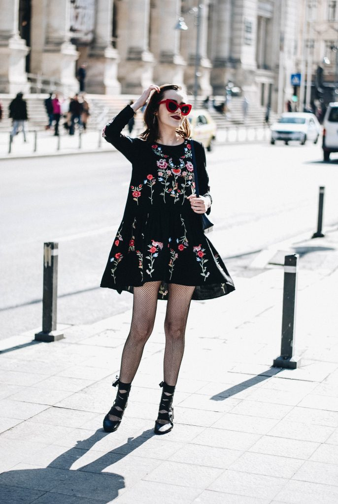 Chichwish flower embroidered boho dress, studs, mango studded jacket, embroidered dress, topshop, asos, zara pu leather jacket, biker jacket, flower embroidered black leather jacket for women, how to wear fishnet tights and look girly, black leather lace up cut out shoes, ankle boots, red cat eye retro sunglasses, furla piper s black shoulder bag, andreea birsan, couturezilla, cute spring outfit inspiration 2017, chic outfit inspiration for winter, casual outfit for winter, fashion trends 2017, floral dress, all black ootd, outfit of the day, pinterest outfit for women, tumblr girls look, short hair, bob, red lipstick, silver hoop earrings, lfw, mfw, nyfw, pfw, fashion week, paris, london, milan, new york, what to wear, fashionista, european fashion blogger, romanian fashion blog, chic on a budget