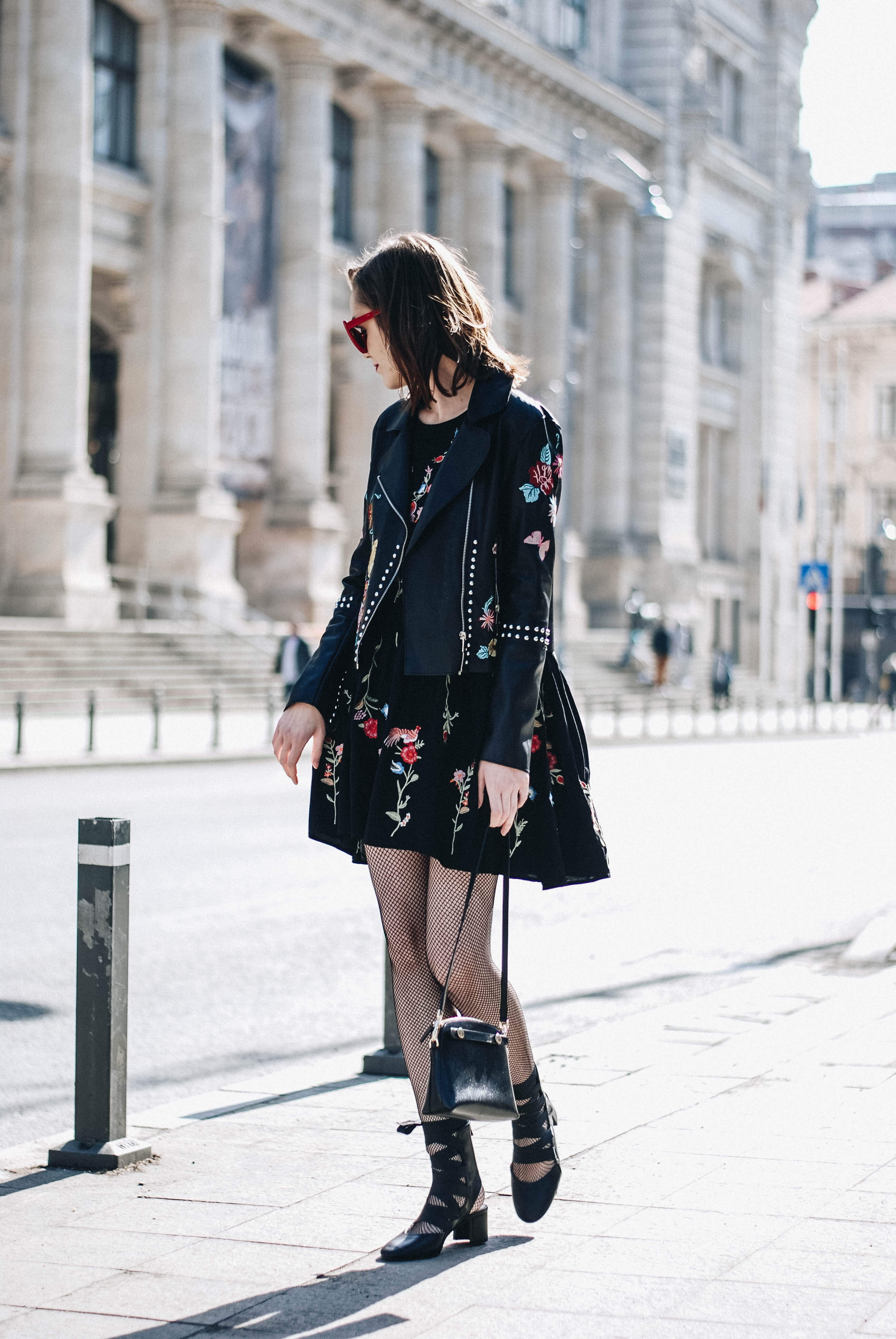 How To Wear A Floral Embroidered Dress With Fishnet Tights