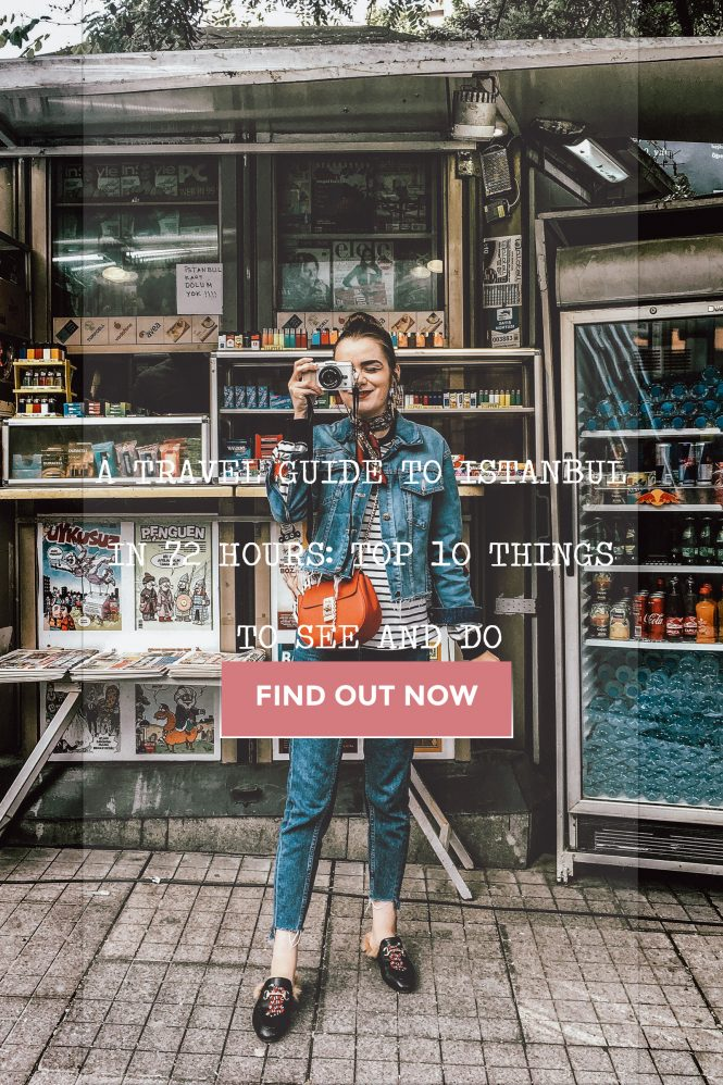 Travel guide to 78 hours in Istanbul, how to spend three days in Istanbul, Turkey, tourist, european travel blogger, couturezilla, andreea birsan, what to wear when you are traveling, what to pack, what to see, what to visit, what to eat, where to drink, where to eat, turkish coffee, turkish tea, turkish delight, ice cream, gelato, mastic, turkish ice cream, photos, beautiful back streets, red chloe drew crossbody bag, gucci mules dupes, gucci fluffy mules, princeton shoes, horsebit, double denim outfit for a tourist, summer outfit for chilly weather, summer trends 2017, what to wear as a tourist in turkey, european fashion blogger, fashion blog, travel blog, travel the world, traveling pitctures, photos, tips and hacks for istanbul, guide, city break, zara clear lens glasses, leather crossbody bag, red, pops of red, double denim trend, how to wear double denim, taksim square, striped top, striped shirt, mango sweatshirt, topshop jeans, mom jeans asos, river island denim jacket, star printed denim jacket boohoo, forever 21 denim, red bag, slides, slippers, snake print shoes, embroidered shoes, shoes for traveling, silver earrings, vitamins, fresh fruits, fresh juices, baklava, street art of istanbul, architecture, buildings, turkish flag, hospitality, how to spend three days in istanbul, bosphorus, galata tower, visit istanbul, golden hour, sunset, casual pinterest outfit for women, summer european street style, stylish tourist, girls of tumblr pictures, minimal outfit, casual and chic outfit, ootd, outfit of the day, girl in denim, women, hidden streets, beautiful, explore,
