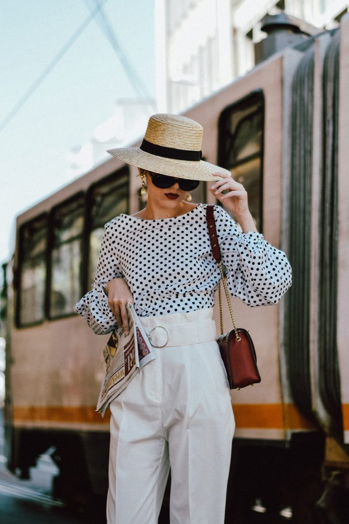 High Waist White Pants Amp Polka Dot Puffy Sleeves Blouse