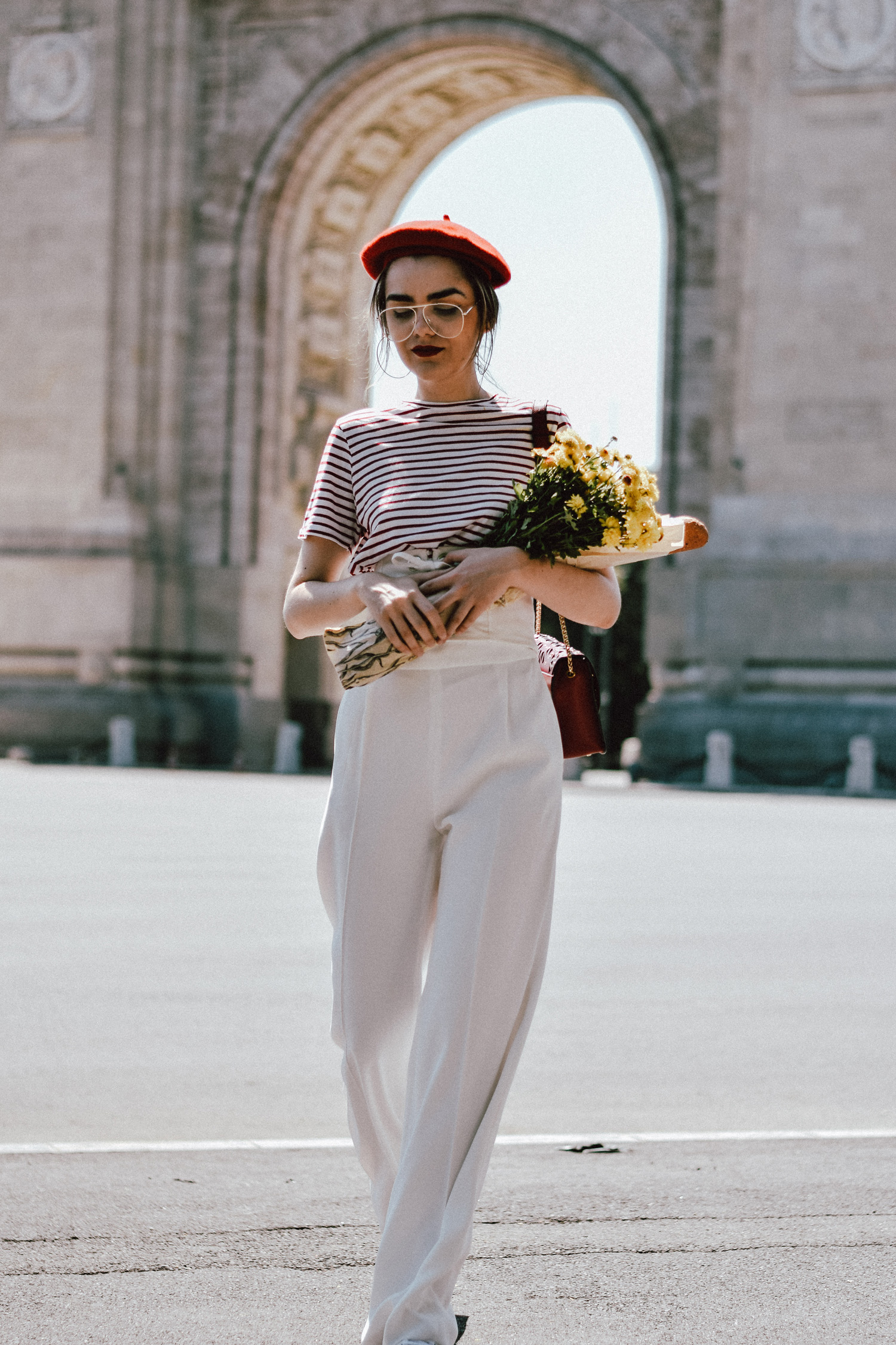 White wide leg pants zara, mango stripe t-shirt, urban outfitters striped  tee 5e5cc8edba