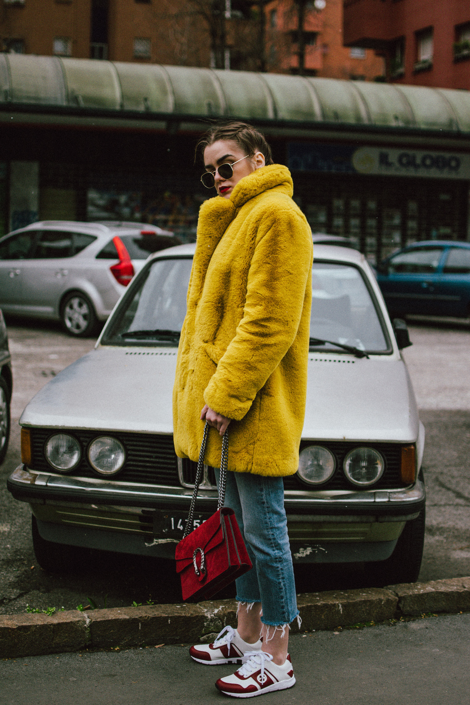 Airport Outfit Double Denim Amp Yellow Faux Fur Coat