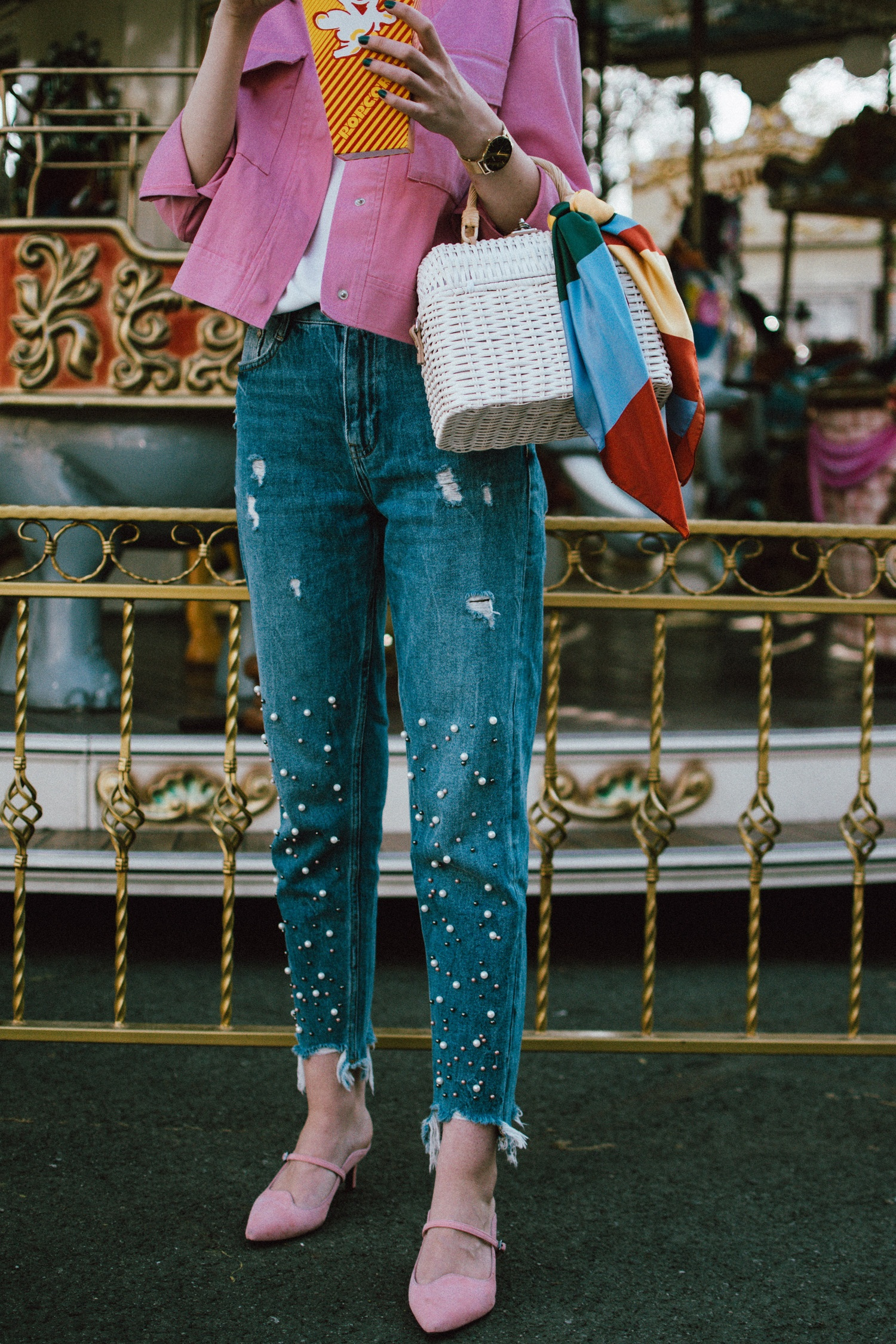 Double Denim With A Twist Pink Jacket Amp Pearl Embellished