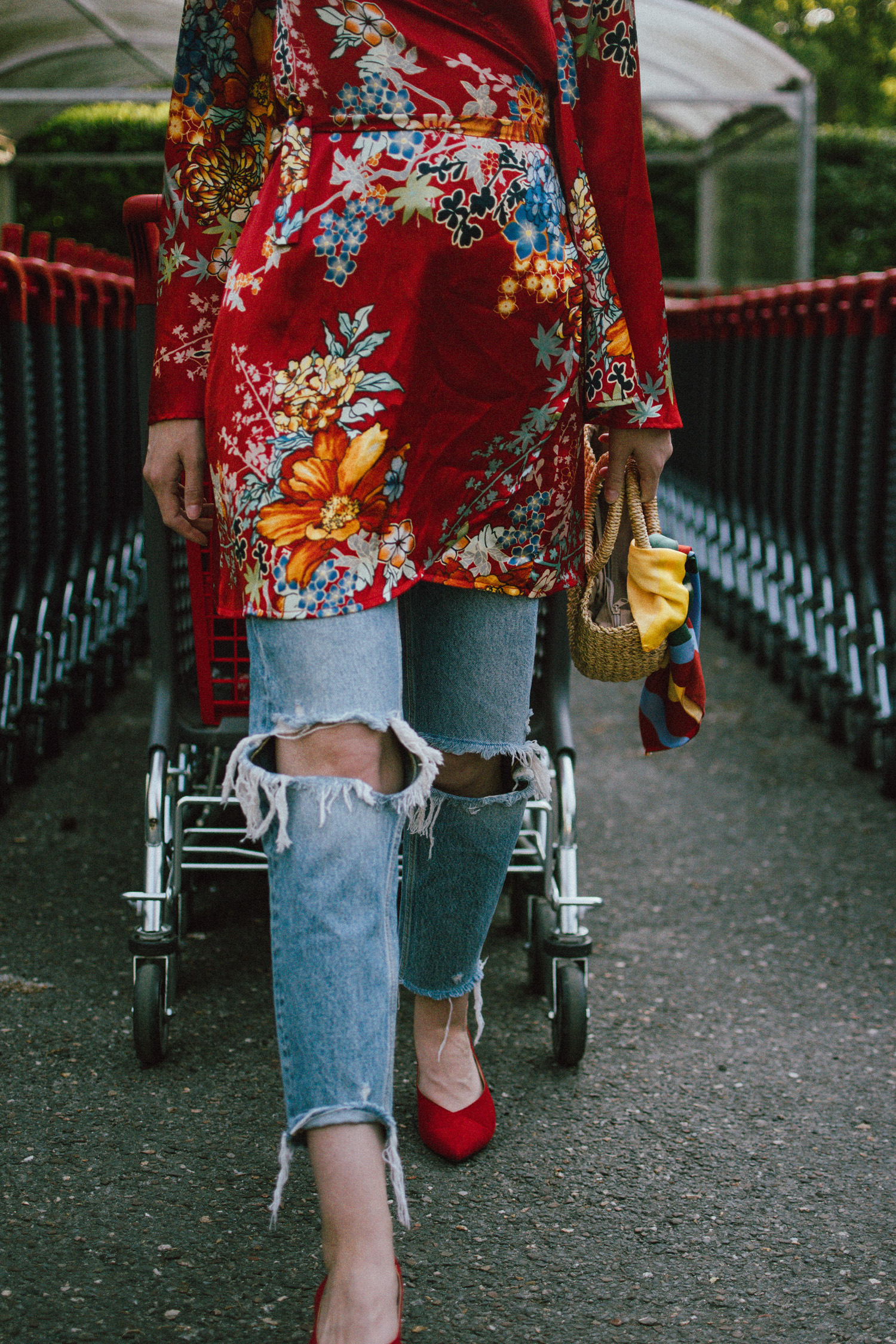 How To Wear A Kimono Dress With Distressed Jeans