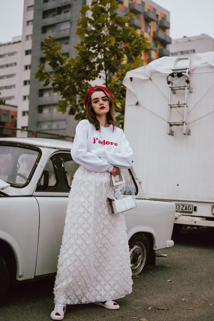 Pinko white maxi skirt, white j'adore jumper, pandora jewelry, gucci sneakers, all white outfit, red beret, andreea birsan, couturezilla, cute winter and fall outfit ideas 2018, pink long white skirt with floral brodery, floral skirt, how to wear maxi skirts in winter and autumn, how to pull off a maxi skirt, the maxi skirt you should wear, all white outfit for fall and winter 2018, how to wear an all white outfit, how to pull off all white outfits, the white on white outfit you should wear this fall, j'adore jumper, white sweatshirt, how to make a feminine skirt look edgy, edgy all white fall outfit, what top to wear with maxi skirts, maxi skirt and sneakers, gucci ace heart embroidered sneakers, white leather gucci sneakers with hearts, all white kicks, white leather trainers, white leather kicks, the best sneakers from gucci, where to get the best white sneakers from, where to find the best white sneakers, fall outfit ideas, white outfit to wear in the cold season, what to wear in winter 2018, red wool beret, how to wear a beret, how to style a beret, red and white outfit, gold metallic belt, clear lens aviator glasses, clear lens glasses, how to pull off the geeky clear lens glasses trend, edgy feminine outfit, andreea birsan street style 2018, boohoo jumper, sweatshirt, sweater, staud inspired transparent tote bag, clear bag, mango clear bag, how to wear the vinyl bag trend, how to wear the clear bag trend, transparent bag trend, all white look 2018, pandora purity jewelry, how to look Parisian chic, European summer street style inspiration for women 2017, pinterest chic outfit ideas for woman, summer outfit ideas, summer ootd inspiration, outfit of the day, ootd, fashion icon, style inspiration, fashionista, fashion inspiration, style inspo, what to wear in summer, how to look French, chic on a budget, zara outfit, mango, topshop, asos, river island, forever 21, urban outfitters, how to mix high end pieces with luxury ones, zara and Gucci,outfit alternatives for summer, tomboy chic, minimal outfit, tumblr girls photos, pictures, happy girl, women, smart casual outfits, the best outfit ideas 2017, what to wear when you don't feel inspired, summer in Europe, weekend attire, uniform, French women in summer, European outfit ideas 2017, minimal chic outfit, how to stand out, the best outfit ideas for summer, the sunglasses you have seen everywhere on Instagram, glasses, uk fashion blogger, united kingdom, uk fashion blog, fashion and travel blog, Europe, women with style, street style, summer fashion trends 2017, best fashion ideas, styling, fall fashion, fall outfit, fall ootd, fall perfect, transitional dressing, best transitional outfit ideas, how to wear statement earrings, dressing for autumn, autumn outfit, winter outfit ideas for work and school